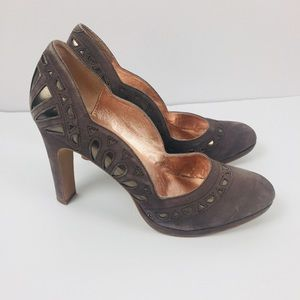 Anthro Miss Albright Scalloped Cutout Suede Heels